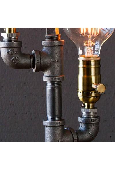 Dekorle Çift Rustik Ampullü Tasarım Masa Lambası - DL01151