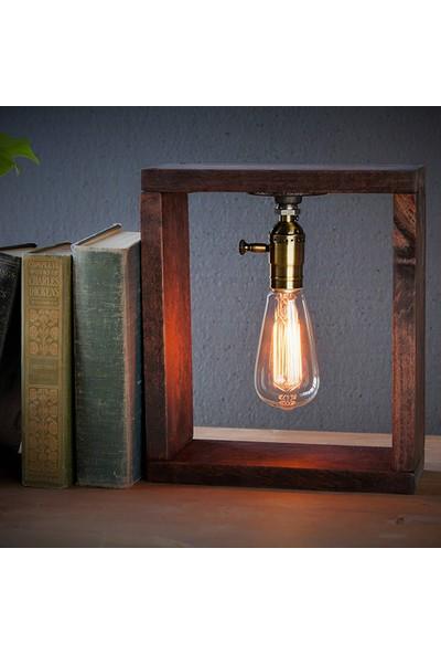 Dekorle Ahşap Çerçeveli Rustik Masa Lambası - DL01159