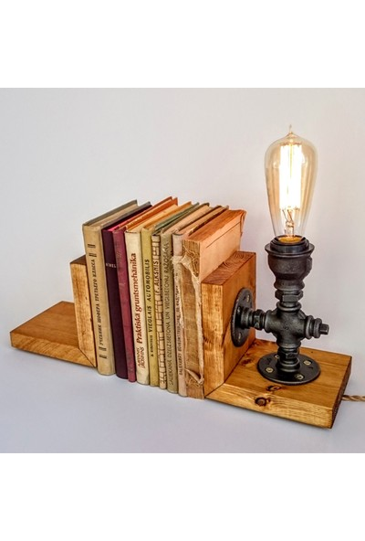 Dekorle Rustik Ampullü Sıkıştırmalı Kitap Tutacağı - DL01166