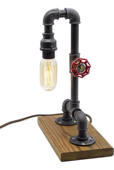Dekorle Ahşap Ayaklı Vanalı Endüstriyel Boru Masa Lambası - DL01197