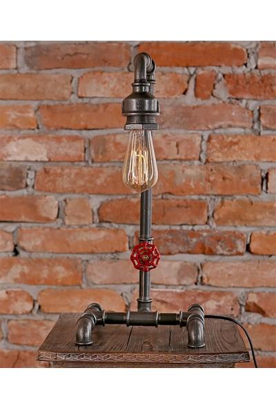 Dekorle Vanalı Dekoratif Endüstriyel Boru Masa Lambası - DL01199