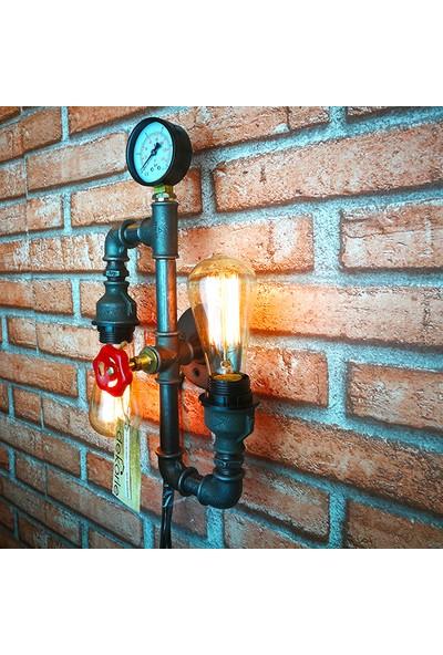 Dekorle Manometreli 2 Ampullü Duvar Lambası - DLDL01101