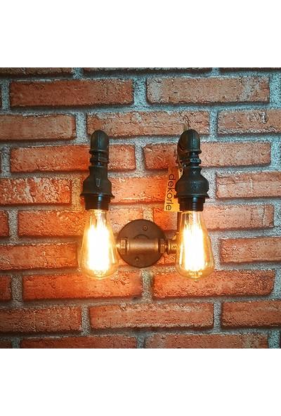 Dekorle Aşağı Yönlü Çift Ampullü Duvar Lambası - DLDL01106