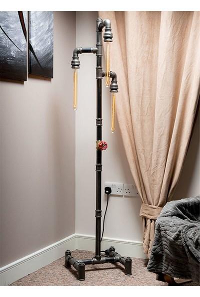 Dekorle Sokak Lambası Modeli Vanalı 3'lü Flüt Ampullü Endüstriyel Boru Lambader - DLLD01107