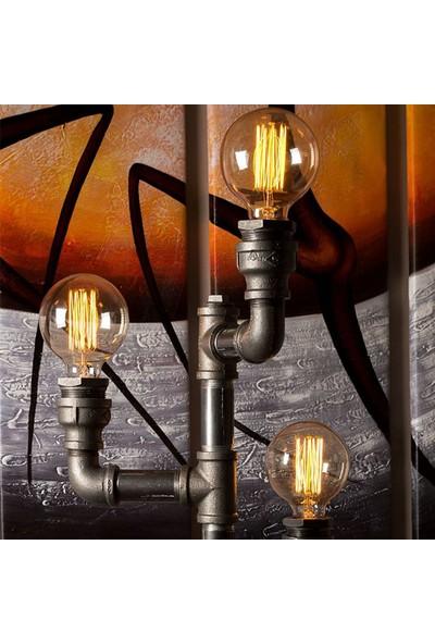 Dekorle Şamdan Modeli Vanalı 3'lü Top Ampullü Endüstriyel Boru Lambader - DLLD01111