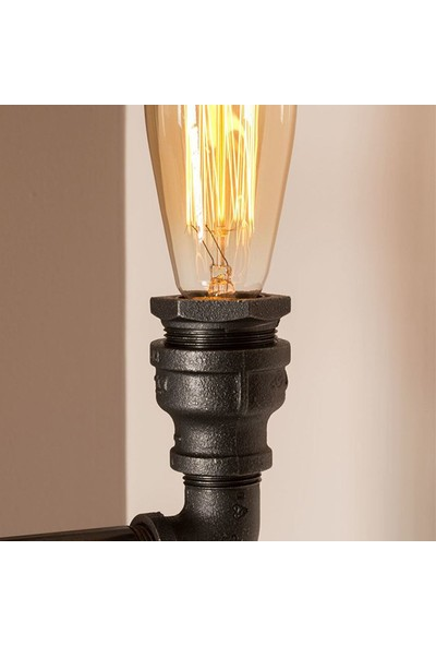Dekorle Şamdan Modeli Vanalı 3'lü Armut Ampullü Endüstriyel Boru Lambader - DLLD01113
