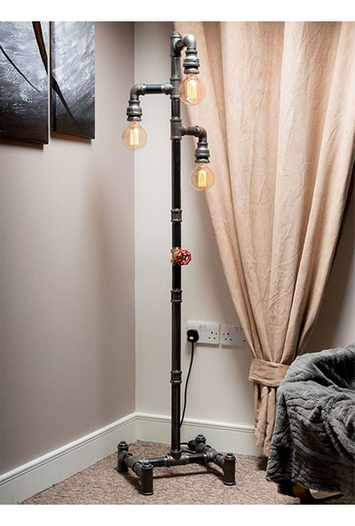 Dekorle Sokak Lambası Modeli Vanalı 3'lü Top Ampullü Endüstriyel Boru Lambader - DLLD01115