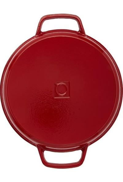 Hecha Döküm Büyük Yuvarlak Izgara 30 cm Kırmızı