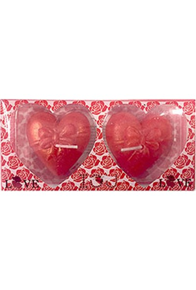 Kırmızı Fiyonk Kalp Mum 2li