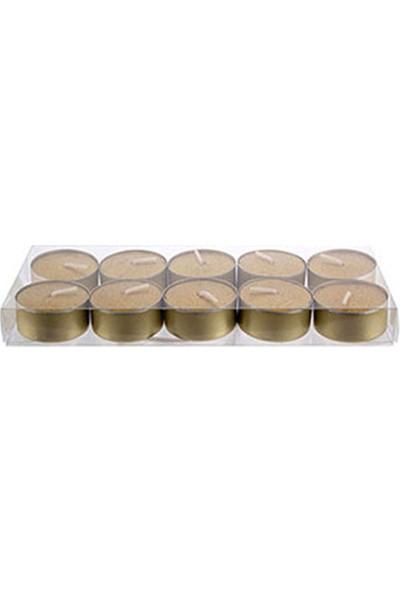 Metalik Altın Tealight Mum 4 cm 10lu