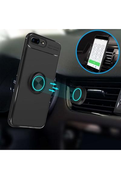 Case 4U Apple iPhone 7-8 Plus Kılıf Yüzüklü Darbeye Dayanıklı (Mıknatıslı Araç Tutucu Uyumlu) Siyah