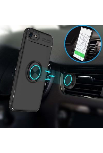 Case 4U Apple iPhone SE 2020 / iPhone 8 / iPhone 7 Kılıf Yüzüklü Darbeye Dayanıklı (Mıknatıslı Araç Tutucu Uyumlu) Siyah