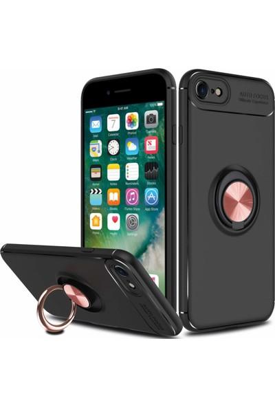 Case 4U Apple iPhone 7-8 Kılıf Yüzüklü Darbeye Dayanıklı (Mıknatıslı Araç Tutucu Uyumlu) Siyah - Rose Gold