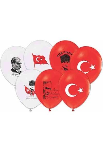 Buket Ata-Bayrak Karışık Orta Boy Balon 100 Lü Paket
