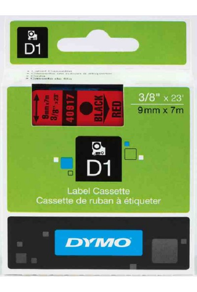 Dymo D1 Yedek Şerit 9Mmx7Mt Kırmızı/Siyah