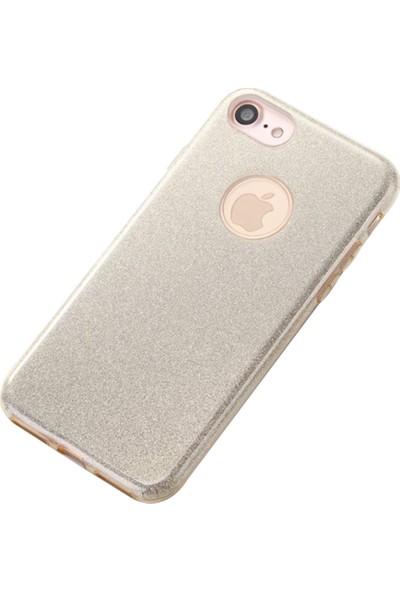 Fshang Apple iPhone 7 - 8 Gold Simli Kılıf