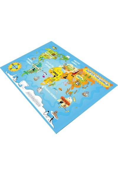 Consept Home 2073 Dünya Haritası Eğitici Antialerjik Çocuk Odası Halısı 100x150