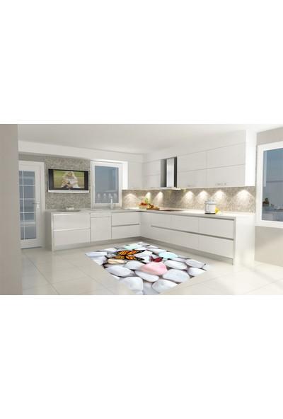 Consept Home Modern 3 Boyutlu Turuncu Kelebek Taşlı Mutfak Halısı 100x150