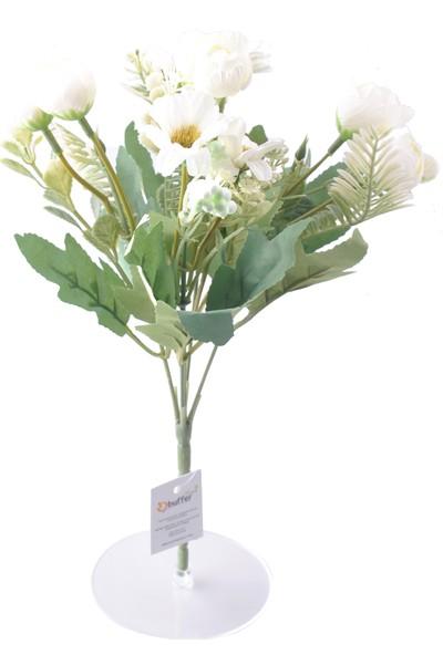 Buffer 5 Dallı 28 cm Aranjmanlı Gül ve Papatya Yapay Çiçek Beyaz-CK012BZ