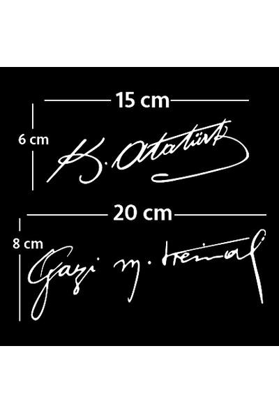 Areksan Atatürk İkili İmza Sticker 20 cm