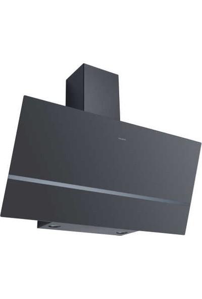 Dominox DPJ 915 V BK Davlumbaz, Siyah Cam, 90 cm