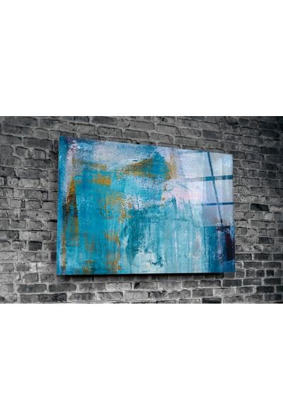 Insigne Mavi Fırça Darbeleri Cam Tablo