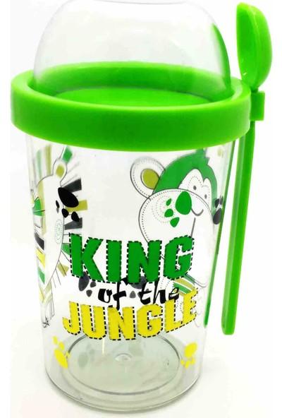 Poppard Jungle Capsule 450 ML + 100 ML Granola Atıştırmalık Kabı - Yeşil