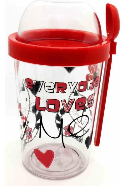 Poppard Love Capsule 450 ML + 100 ML Granola Atıştırmalık Kabı - Kırmızı