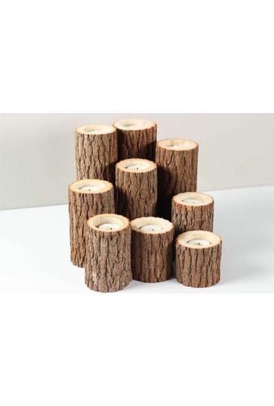 Kütük House Ağaç Mumluk 3'Lü