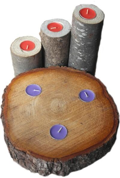 Kütük House Ağaç Mumluk Set