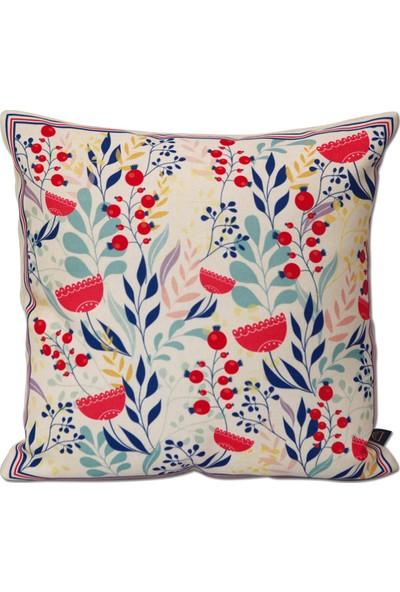Demeter Tekstil Tasarım Dijital Baskı Dekoratif Kırlent Mavi