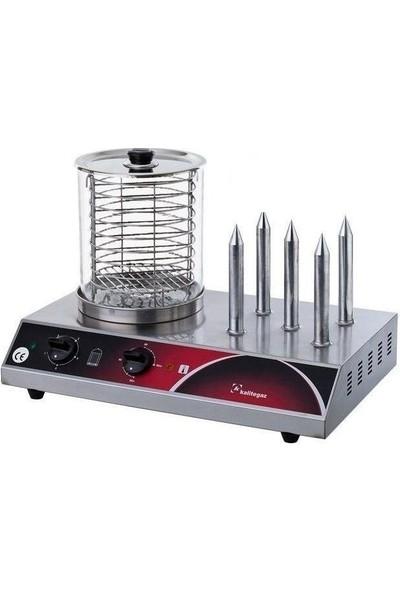 Kalitegaz Hot Dog Makinası 5 Çubuklu Sosis Pişirme Yapma Kızartma