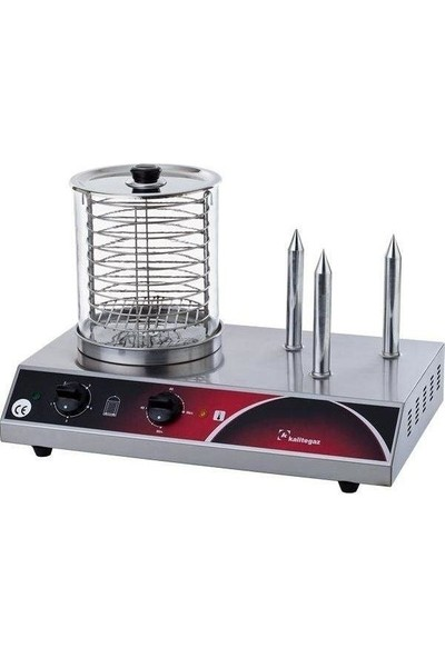 Kalitegaz Hot Dog Makinası 3 Çubuk Sosis Pişirme Yapma Kızartma