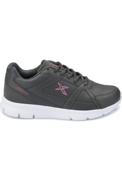 Kinetix Kalen Pu W Koyu Gri Beyaz Pembe Kadın Koşu Ayakkabısı