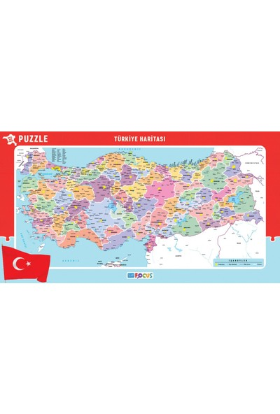 Blue Focus 56x30 cm Büyük Boy Türkiye Haritası Puzzle
