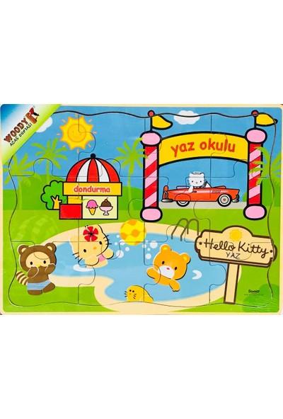 Woody Hello Kitty 12 Parça Ahşap Mevsimler-Yaz Puzzle