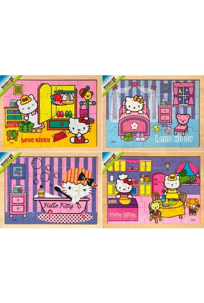 Woody Hello Kitty 20 Parça Ev Aktiviteleri Ahşap Yapboz Seti (4 Adet)