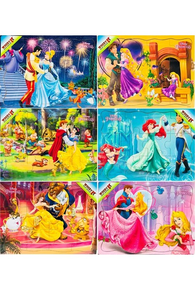 Woody Disney Prensesleri 6x12 Parça Ahşap Yapboz Seti