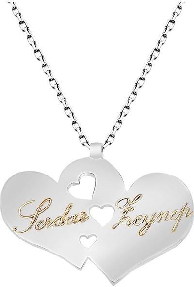 Dzg Silver İsim Yazılan Kalpli Kolye İsimli Kolye İsimlik Bayan Gümüş Kolye