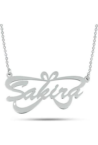 Dzg Silver İsimli Kolye Figürlü Kişiye Özel İsimlik Kolye Bayan Gümüş Kolye 477Dn
