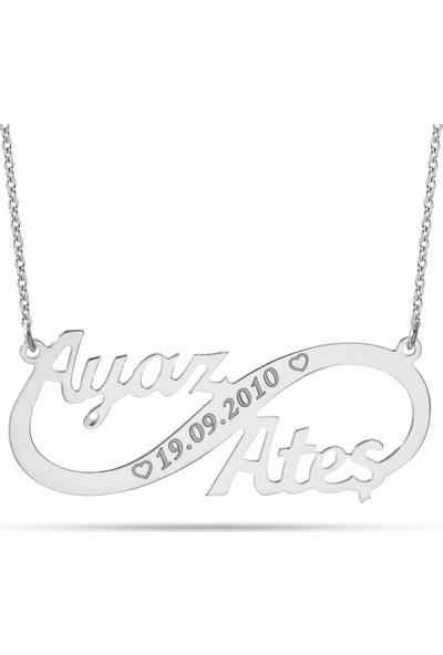 Dzg Silver İsimli Sonsuzluk Kolye Kişiye Özel İsimli Kolye Gümüş Kolye 432Dn