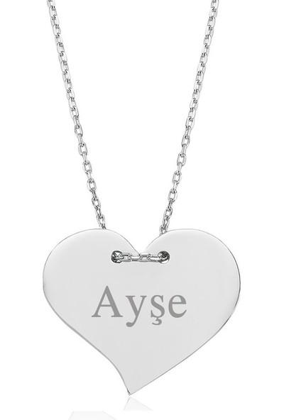 Dzg Silver İsim Yazılan Kalpli Kolye İsimli Kolye İsimlik Bayan Gümüş Kolye 534Dn