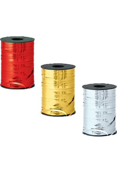 Kazanabil Parlak Metalik Şerit Rafya 8mmx200mt Gümüş