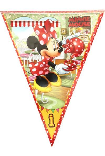 Kazanabil Minnie Mouse Baskılı İyiki Doğdun Yazılı Parti Flama Bayrak