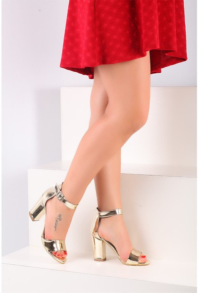 Pembe Potin Altın Rugan Kadın Topuklu Ayakkabı