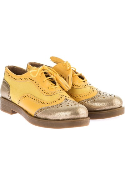 Pembe Potin Sarı Kadın Oxford Ayakkabı