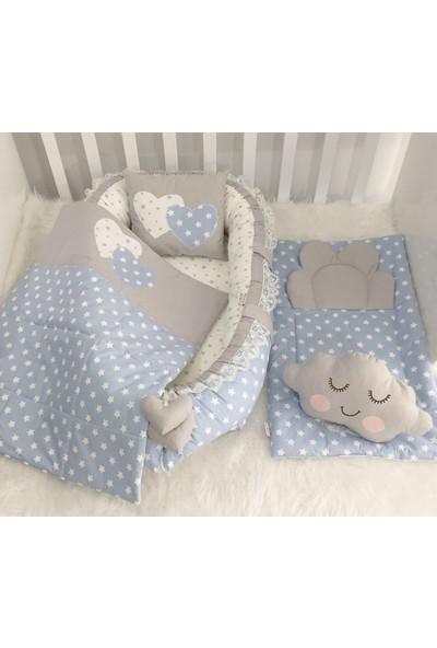 Jaju Baby Babynest Mavi Yıldızlı Lüx Tasarım Babynest Set