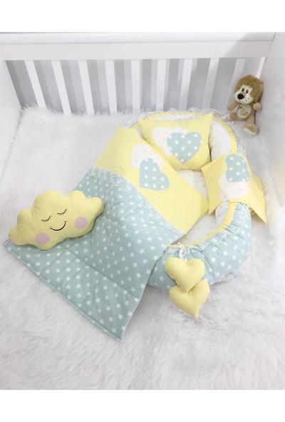 Jaju Baby Babynest Yeşil Yıldızlı Lüx Tasarım Baby Nest Set
