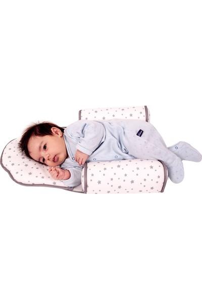 Sevi Bebe Kafa Şekillendirici Yastık Ve Yan Yatış Yastığı Gri Yıldız