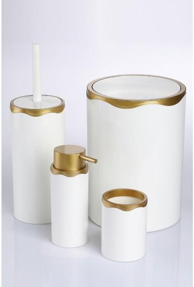 Azra Akrilik Banyo Takımı 4'lü Banyo Seti Beyaz Gold